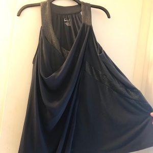 Navy blue knit/chiffon tunic with black trim 14/16